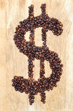 Dollar von den Kaffeebohnen Lizenzfreies Stockbild