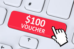 100 Dollar voucher gift discount sale online shopping internet s. Hop computer Royalty Free Stock Photos