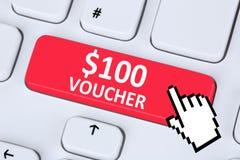 100 Dollar voucher gift discount sale online shopping internet s. Hop computer royalty free stock photos