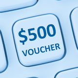 500 Dollar voucher gift discount sale online shopping internet s. Tore shop computer Stock Photography
