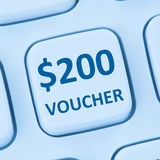 200 Dollar voucher gift discount sale online shopping internet s. Tore shop computer stock photo
