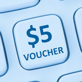 5 Dollar voucher gift discount sale online shopping internet sto. Re shop computer Stock Photos