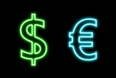 Dollar Vs Euro $ € finance neon sign glow isolated on black Stock Photography