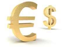 Dollar vs euro. On a white background Royalty Free Stock Images