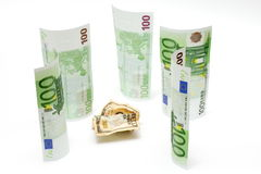 Dollar vs euro. Ten dollars fights against euro against white background Royalty Free Stock Photos