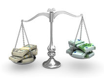 Dollar vs Euro. On a balance Royalty Free Stock Photo