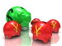 Dollar vs yens Stock Photos