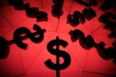 Dollar-Währungszeichen mit vielen Spiegelungs-Bildern von sich stockfotografie