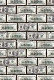 Dollar wall. A brick wall made from 100 dollar bills Royalty Free Stock Photo