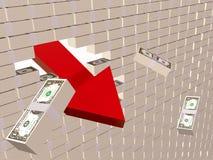 Dollar wall. Broken money wall - world financial crisis allegory Royalty Free Stock Photos