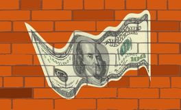 The dollar on wall of bricks. The one hundred dollar on wall of bricks bill $ 100 is the largest current denomination of the US dollar. On the obverse appears royalty free illustration