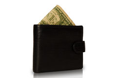 Dollar in the wallet. One paper dollar in black leather wallet isolated on a white background Stock Photography