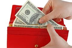 Dollar and wallet in hands Stock Photography