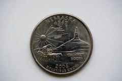 1/4 Dollar ` Washington Quarter ` Nebraska Royalty-vrije Stock Afbeeldingen