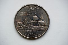 1/4 dollar `-Washington Quarter ` Virginia royaltyfri fotografi