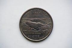 1/4 Dollar` Washington Quarter ` West-Virginia Stock Foto's