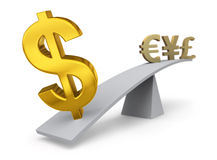 The Dollar Weighs In Against Other Currencies. Bright, gold $ weighs one end of a gray balance beam down while Euro, Yen and British Pound symbols sit high in Stock Images