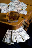 Dollar and whisky Royalty Free Stock Photo
