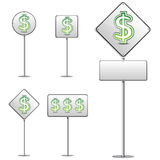Dollar white road sign Royalty Free Stock Photo