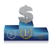 Dollar winner's podium Royalty Free Stock Images