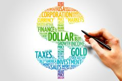 Dollar. Word cloud sign, business concept Royalty Free Stock Images