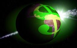 Dollar world. Dollar orbiting around the globe, Dollar orbiting around the globe Royalty Free Stock Image