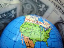 Dollar World. The world packed in dollar notes royalty free stock images
