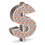 Dollar with world flags Royalty Free Stock Images