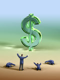 Dollar worship. Group of businessmen worshipping a large dollar symbol. Digital illustration Royalty Free Stock Photo