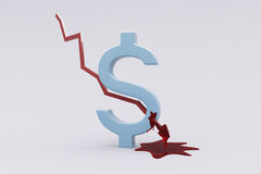 Dollar wounded by stock arrow. 3D Dollar $ symbol pierced by stock trend arrow and bleeding. Recession stock illustration