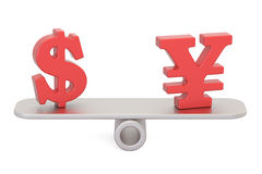 Dollar or Yen, balance concept. 3D rendering. Isolated on white background Stock Images