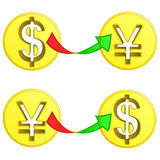 Dollar and yen coin sign exchange vector Stock Images