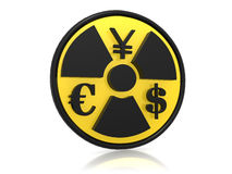 Dollar, yen and euro with radioactive symbol Stock Photos