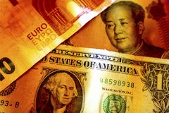 Dollar, yen och euro Royaltyfri Bild
