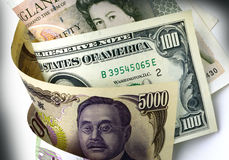 Dollar, Yen and Pound. Paper Currencies of Japan, US and England Royalty Free Stock Images