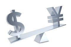 Dollar, Yen, Renminbi. Dollar sign and Yen and Renminbi sign on a silver swing Stock Photos