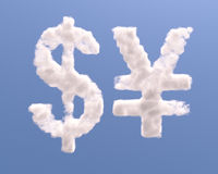 Dollar and yen shape clouds Stock Photography
