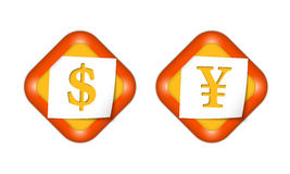Dollar and yen sign Royalty Free Stock Photos