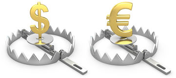 Dollar and yen symbols in a bear trap Royalty Free Stock Photo
