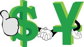 Dollar and yuan shake hands economy.  Stock Photos