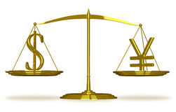 Dollar and yuan sign on scales Stock Photography