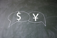 Dollar and yuan symbol Royalty Free Stock Photography