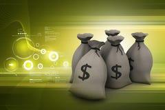 Dollar in zak wordt gehouden die royalty-vrije illustratie