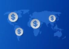 Dollar-Zeichen auf Weltkarte-Blau-Hintergrund Stockbild