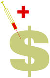 Dollar-Zeichen-kranke grüne Einspritzung Lizenzfreies Stockbild