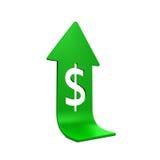 Dollar-Zeichen mit dem Heranwachsen des Pfeiles Stockfotos