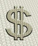 Dollar-Zeichen mit Geld-Hintergrund Stockfoto