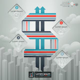 Dollar-Zeichen mit Geschäfts-Konzept-Illustration Lizenzfreies Stockbild