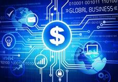 Dollar-Zeichen mit globales Geschäfts-Konzept Lizenzfreie Stockfotos