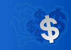 Dollar-Zeichen und Pfeile auf blauem Hintergrund Stockbild